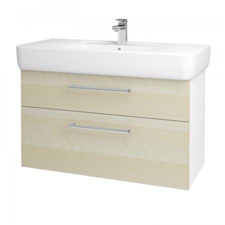 Dřevojas - Koupelnová skříň Q MAX SZZ2 100 - N01 Bílá lesk / Úchytka T03 / D02 Bříza (131807C)