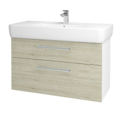 Dřevojas - Koupelnová skříň Q MAX SZZ2 100 - N01 Bílá lesk / Úchytka T03 / D05 Oregon (131838C)