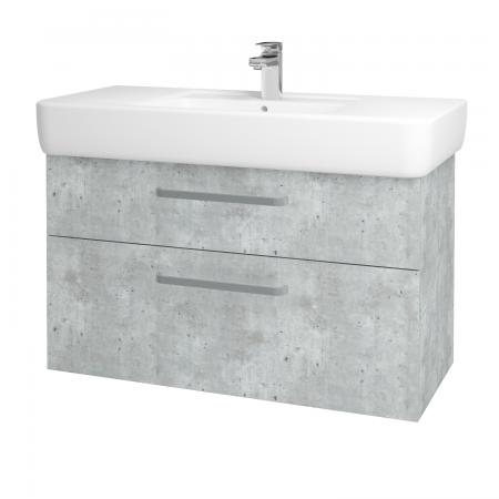 Dřevojas - Koupelnová skříň Q MAX SZZ2 100 - D01 Beton / Úchytka T01 / D01 Beton (132002A)