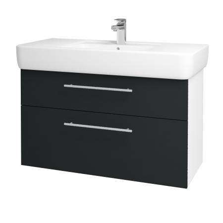 Dřevojas - Koupelnová skříň Q MAX SZZ2 100 - N01 Bílá lesk / Úchytka T02 / L03 Antracit vysoký lesk (132217B)
