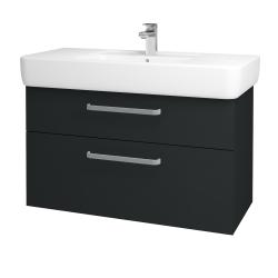 Dřevojas - Koupelnová skříň Q MAX SZZ2 100 - L03 Antracit vysoký lesk / Úchytka T01 / L03 Antracit vysoký lesk (132309A)