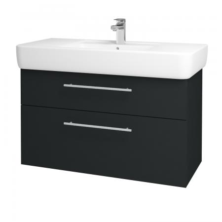 Dřevojas - Koupelnová skříň Q MAX SZZ2 100 - L03 Antracit vysoký lesk / Úchytka T02 / L03 Antracit vysoký lesk (132309B)