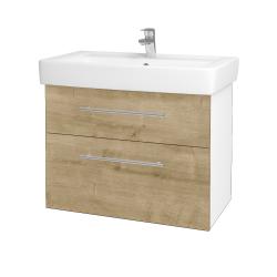Dřevojas - Koupelnová skříň Q MAX SZZ2 80 - N01 Bílá lesk / Úchytka T02 / D09 Arlington (115562B)