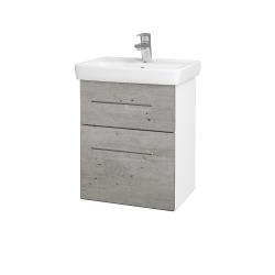 Dřevojas - Koupelnová skříň GO SZZ2 50 - N01 Bílá lesk / Úchytka T02 / D01 Beton (148270B)