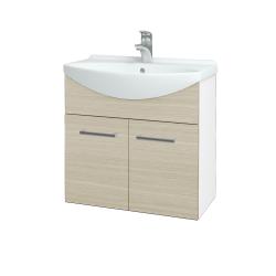 Dřevojas - Koupelnová skříň TAKE IT SZD2 65 - N01 Bílá lesk / Úchytka T03 / D04 Dub (151959C)