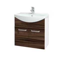 Dřevojas - Koupelnová skříň TAKE IT SZD2 65 - N01 Bílá lesk / Úchytka T01 / D06 Ořech (151973A)