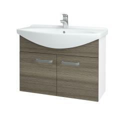 Dřevojas - Koupelnová skříň TAKE IT SZD2 85 - N01 Bílá lesk / Úchytka T01 / D03 Cafe (152123A)