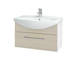 Dřevojas - Koupelnová skříň TAKE IT SZZ 75 - N01 Bílá lesk / Úchytka T03 / D04 Dub (152499C)