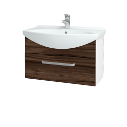 Dřevojas - Koupelnová skříň TAKE IT SZZ 75 - N01 Bílá lesk / Úchytka T01 / D06 Ořech (152512A)