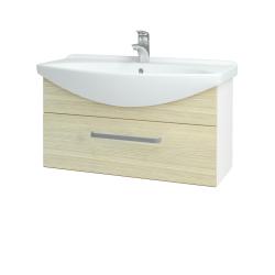 Dřevojas - Koupelnová skříň TAKE IT SZZ 85 - N01 Bílá lesk / Úchytka T01 / D04 Dub (152581A)