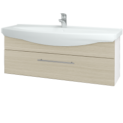 Dřevojas - Koupelnová skříň TAKE IT SZZ 120 - N01 Bílá lesk / Úchytka T02 / D04 Dub (152765B)