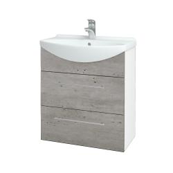 Dřevojas - Koupelnová skříň TAKE IT SZZ2 65 - N01 Bílá lesk / Úchytka T02 / D01 Beton (152826B)