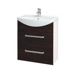 Dřevojas - Koupelnová skříň TAKE IT SZZ2 65 - N01 Bílá lesk / Úchytka T01 / D08 Wenge (152888A)