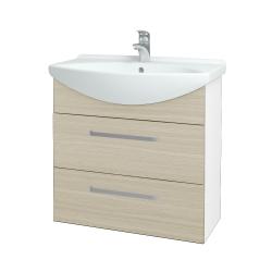 Dřevojas - Koupelnová skříň TAKE IT SZZ2 75 - N01 Bílá lesk / Úchytka T01 / D04 Dub (152949A)