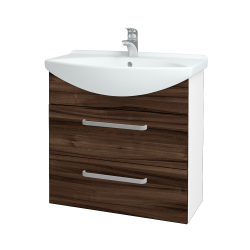 Dřevojas - Koupelnová skříň TAKE IT SZZ2 75 - N01 Bílá lesk / Úchytka T01 / D06 Ořech (152963A)