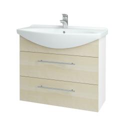 Dřevojas - Koupelnová skříň TAKE IT SZZ2 85 - N01 Bílá lesk / Úchytka T02 / D02 Bříza (153014B)