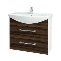 Dřevojas - Koupelnová skříň TAKE IT SZZ2 85 - N01 Bílá lesk / Úchytka T03 / D06 Ořech (153052C)