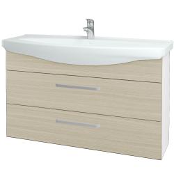 Dřevojas - Koupelnová skříň TAKE IT SZZ2 120 - N01 Bílá lesk / Úchytka T01 / D04 Dub (153267A)