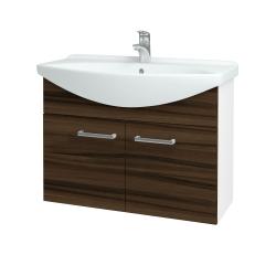 Dřevojas - Koupelnová skříň TAKE IT SZD2 85 - N01 Bílá lesk / Úchytka T03 / D06 Ořech (152154C)