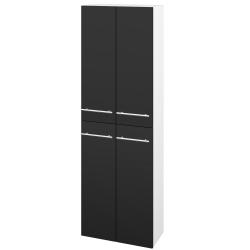 Dřevojas - Skříň vysoká DOS SV1D4 50 - N01 Bílá lesk / Úchytka T02 / L03 Antracit vysoký lesk (154998B)