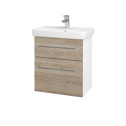 Dřevojas - Koupelnová skříň GO SZZ2 55 - N01 Bílá lesk / Úchytka T02 / D17 Colorado (204709B)