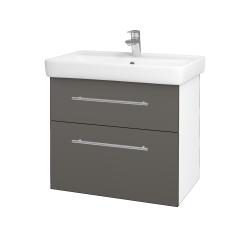 Dřevojas - Koupelnová skříň Q MAX SZZ2 70 - N01 Bílá lesk / Úchytka T02 / N06 Lava (198466B)