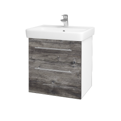 Dřevojas - Koupelnová skříň Q MAX SZZ2 60 - N01 Bílá lesk / Úchytka T02 / D10 Borovice Jackson (198169B)