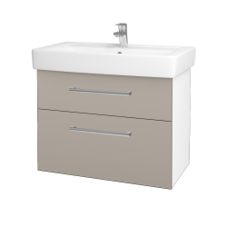 Dřevojas - Koupelnová skříň Q MAX SZZ2 80 - N01 Bílá lesk / Úchytka T03 / N07 Stone (198671C)