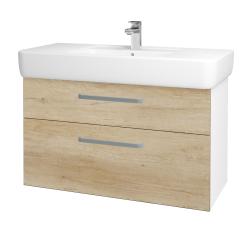 Dřevojas - Koupelnová skříň Q MAX SZZ2 100 - N01 Bílá lesk / Úchytka T01 / D15 Nebraska (198800A)