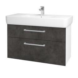 Dřevojas - Koupelnová skříň Q MAX SZZ2 100 - N01 Bílá lesk / Úchytka T03 / D16 Beton tmavý (198817C)