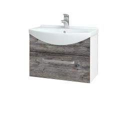 Dřevojas - Koupelnová skříň TAKE IT SZZ 65 - N01 Bílá lesk / Úchytka T01 / D10 Borovice Jackson (206680A)
