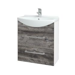 Dřevojas - Koupelnová skříň TAKE IT SZZ2 65 - N01 Bílá lesk / Úchytka T03 / D10 Borovice Jackson (207489C)