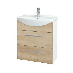 Dřevojas - Koupelnová skříň TAKE IT SZZ2 65 - N01 Bílá lesk / Úchytka T01 / D15 Nebraska (207496A)