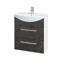 Dřevojas - Koupelnová skříň TAKE IT SZZ2 65 - N01 Bílá lesk / Úchytka T01 / D16 Beton tmavý (207502A)