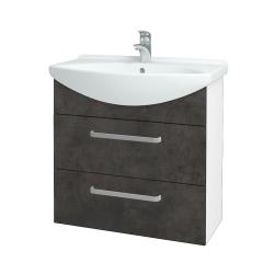 Dřevojas - Koupelnová skříň TAKE IT SZZ2 75 - N01 Bílá lesk / Úchytka T01 / D16 Beton tmavý (207663A)