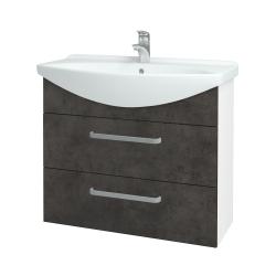 Dřevojas - Koupelnová skříň TAKE IT SZZ2 85 - N01 Bílá lesk / Úchytka T01 / D16 Beton tmavý (207823A)