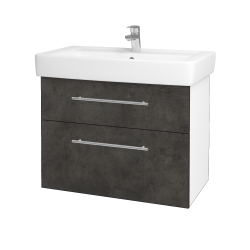 Dřevojas - Koupelnová skříň Q MAX SZZ2 80 - N01 Bílá lesk / Úchytka T02 / D16 Beton tmavý (198619B)