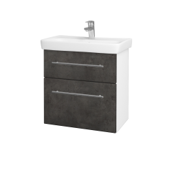 Dřevojas - Koupelnová skříň GO SZZ2 60 - N01 Bílá lesk / Úchytka T02 / D16 Beton tmavý (204884B)