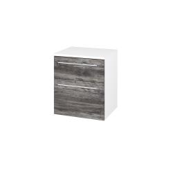 Dřevojas - Skříň spodní DOS SNZ2K  50 - N01 Bílá lesk / Úchytka T02 / D10 Borovice Jackson (116194B)