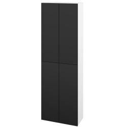 Dřevojas - Skříň vysoká DOS SV1D4 50 - N01 Bílá lesk / Bez úchytky T31 / L03 Antracit vysoký lesk (154998D)
