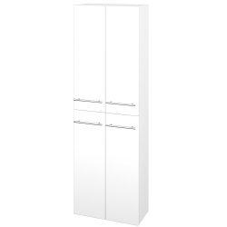 Dřevojas - Skříň vysoká DOS SV1D4 50 - N01 Bílá lesk / Úchytka T02 / M01 Bílá mat (209148B)