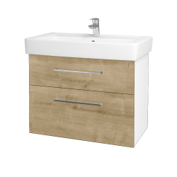 Dřevojas - Koupelnová skříň Q MAX SZZ2 80 - N01 Bílá lesk / Úchytka T04 / D09 Arlington (115562E)