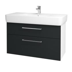 Dřevojas - Koupelnová skříň Q MAX SZZ2 100 - N01 Bílá lesk / Úchytka T04 / L03 Antracit vysoký lesk (132217E)