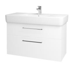 Dřevojas - Koupelnová skříň Q MAX SZZ2 100 - N01 Bílá lesk / Úchytka T04 / L01 Bílá vysoký lesk (132224E)