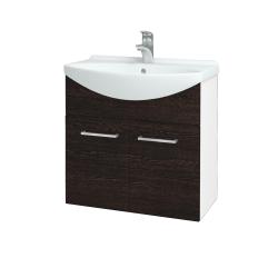 Dřevojas - Koupelnová skříň TAKE IT SZD2 65 - N01 Bílá lesk / Úchytka T04 / D08 Wenge (151980E)