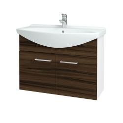 Dřevojas - Koupelnová skříň TAKE IT SZD2 85 - N01 Bílá lesk / Úchytka T04 / D06 Ořech (152154E)