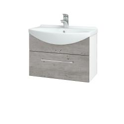 Dřevojas - Koupelnová skříň TAKE IT SZZ 65 - N01 Bílá lesk / Úchytka T04 / D01 Beton (152376E)