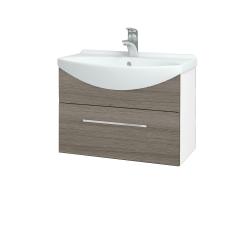 Dřevojas - Koupelnová skříň TAKE IT SZZ 65 - N01 Bílá lesk / Úchytka T04 / D03 Cafe (152390E)