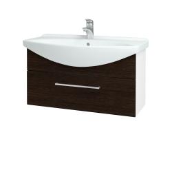 Dřevojas - Koupelnová skříň TAKE IT SZZ 85 - N01 Bílá lesk / Úchytka T04 / D08 Wenge (152611E)
