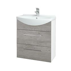 Dřevojas - Koupelnová skříň TAKE IT SZZ2 65 - N01 Bílá lesk / Úchytka T04 / D01 Beton (152826E)